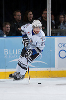 KELOWNA, CANADA - SEPTEMBER 28:  Brett Cote #27 of the Victoria Royals looks for the pass  at the Kelowna Rockets on September 28, 2013 at Prospera Place in Kelowna, British Columbia, Canada (Photo by Marissa Baecker/Shoot the Breeze) *** Local Caption ***