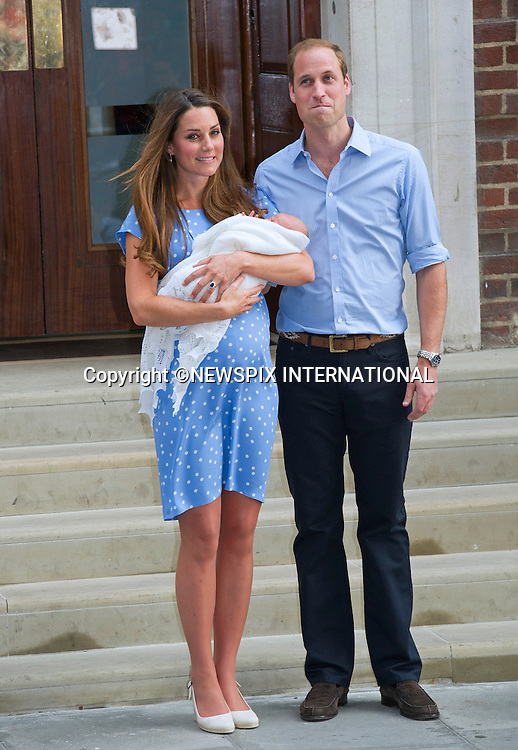 23.07.2013; LONDON : CATHERINE, DUCHESS OF CAMBRIDGE, PRINCE WILLIAM AND NEW BABY<br /> who was born on 22nd July 2013 at 8lbs 4oz, leave the Lindo Wing, St. Mary's Hospital, Paddington,London<br /> Mandatory Credit Photo: &copy;Francis Dias/NEWSPIX INTERNATIONAL<br /> <br /> **ALL FEES PAYABLE TO: &quot;NEWSPIX INTERNATIONAL&quot;**<br /> <br /> IMMEDIATE CONFIRMATION OF USAGE REQUIRED:<br /> Newspix International, 31 Chinnery Hill, Bishop's Stortford, ENGLAND CM23 3PS<br /> Tel:+441279 324672  ; Fax: +441279656877<br /> Mobile:  07775681153<br /> e-mail: info@newspixinternational.co.uk