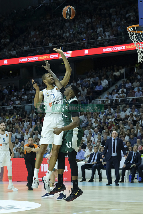 April 27, 2018 - Madrid, Spain - ANTHONY RANDOLPH  of Real Madrid during the 2017/2018 Turkish Airlines Euroleague Play Off Leg Four between Real Madrid v Panathinaikos Superfoods Athens at WiZink Center on April 27, 2018 in Madrid, Spain Photo: Oscar Gonzalez/NurPhoto  (Credit Image: © Oscar Gonzalez/NurPhoto via ZUMA Press)