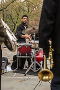 Mike Mo (Michael Mohamed) on drums, paplaying at Summit Rock in Central Park.