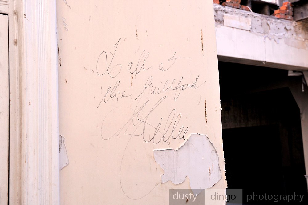 All-time cricket great Dennis Lillee's signature on the wall of the Guildford Hotel