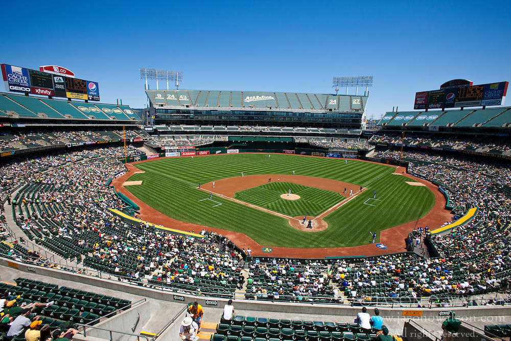 OAKLAND, CA - MAY 19:  General view of O.co Coliseum during the first inning between the Oakland Athletics and the Kansas City Royals on May 19, 2013 in Oakland, California. The Oakland Athletics defeated the Kansas City Royals 4-3. (Photo by Jason O. Watson/Getty Images) *** Local Caption ***