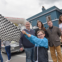 REPRO FREE<br /> Cillian Fitzgerald from Kinsale helps Cathal O'Shea, Kinsale Vintage and Classic Motor Club; Cassandra O'Connell and Cormac Fitzgerald from the Blue Haven and Hope Hickey, Lockdown Models start the Blue Haven Kinsale Vintage Rally on Saturday.<br /> Picture. John Allen<br /> <br /> Kinsale Vintage Rally Weekend 2017