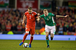 DUBLIN, REPUBLIC OF IRELAND - Friday, March 24, 2017: Wales' Chris Gunter in action against Republic of Ireland's James McClean during the 2018 FIFA World Cup Qualifying Group D match at the Aviva Stadium. (Pic by David Rawcliffe/Propaganda)