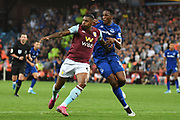 Aston Villa striker Wesley (9) battles for possession  with Everton defender Yerry Mina (13) during the Premier League match between Aston Villa and Everton at Villa Park, Birmingham, England on 23 August 2019.
