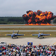 September 6, 2008 -- NAS BRUNSWICK, Maine. A pyrotechnics display is detonated out on the flight line at NAS Brunswick as part of The Great State of Maine Airshow. The airshow visited Naval Air Station Brunswick for the last time this weekend, bringing The U.S. Navy Blue Angels, The U.S. Army Golden Knights and a wide variety of static displays and interactive exhibits. The show drew over 150,000 people over three days with no mishaps among the performers and no emergencies among the attendees. .Because NAS Brunswick is scheduled to be closed in 2011 by the Base Realignment Commission, there will not be another Navy-sponsored airshow at this location. Yet, the Local Redevelopment Authority, responsible for managing the property after the departure of the Navy,  has included an airshow on a list of possible future uses for the property.  U.S. Navy Photo by Mass Communication Specialist 1st Class Roger S. Duncan (RELEASED)
