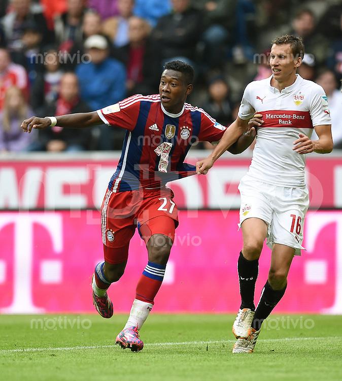 Fussball  1. Bundesliga  Saison 2014/2015   3. SPIELTAG FC Bayern Muenchen - VfB Stuttgart       13.09.2014 David Alaba (li, FC Bayern Muenchen) gegen Florian Klein (VfB Stuttgart)
