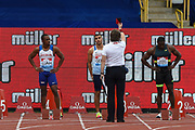 Adam Gemili of Great Britain receives a Red Card and is disqualified from the Men's 100m Final during the Muller Grand Prix Birmingham 2017 at the Alexander Stadium, Birmingham, United Kingdom on 20 August 2017. Photo by Martin Cole.