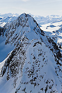 Summit of mountain, one of dozens in the Chugach Mountains in Chugach State Park near Anchorage in Southcentral Alaska. Morning. Spring.