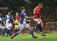 Photo: Steve Bond/Richard Lane Photography. Manchester United v Blackburn Rovers. Barclays Premiership 2009/10. 31/10/2009. Wayne Rooney back flicks towards goal