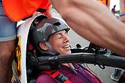 Iris Slappendel is gefinisht na een run. Het Human Power Team Delft en Amsterdam (HPT), dat bestaat uit studenten van de TU Delft en de VU Amsterdam, is in Senftenberg voor een poging het laagland sprintrecord te verbreken op de Dekrabaan. In september wil het Human Power Team Delft en Amsterdam, dat bestaat uit studenten van de TU Delft en de VU Amsterdam, tijdens de World Human Powered Speed Challenge in Nevada een poging doen het wereldrecord snelfietsen voor vrouwen te verbreken met de VeloX 7, een gestroomlijnde ligfiets. Het record is met 121,44 km/h sinds 2009 in handen van de Francaise Barbara Buatois. De Canadees Todd Reichert is de snelste man met 144,17 km/h sinds 2016.<br /> <br /> The Human Power Team is in Senftenberg, Germany to race at the Dekra track as a preparation for the races in America. With the VeloX 7, a special recumbent bike, the Human Power Team Delft and Amsterdam, consisting of students of the TU Delft and the VU Amsterdam, also wants to set a new woman's world record cycling in September at the World Human Powered Speed Challenge in Nevada. The current speed record is 121,44 km/h, set in 2009 by Barbara Buatois. The fastest man is Todd Reichert with 144,17 km/h.