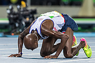 Mo Farah of Great Britain takes Gold to retain his title in the Men's 10,000m on day eight of the XXXI 2016 Olympic Summer Games in Rio de Janeiro, Brazil.<br /> Picture by EXPA Pictures/Focus Images Ltd 07814482222<br /> 13/08/2016<br /> *** UK & IRELAND ONLY ***<br /> <br /> EXPA-GRO-160814-5317.jpg