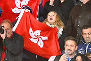 A Hong Kong fan cheering on her team during the Rugby World Cup qualifier between Hong Kong and Canada at Stade Delort, Marseilles, France on 23 November 2018. Picture by Ian  Muir.