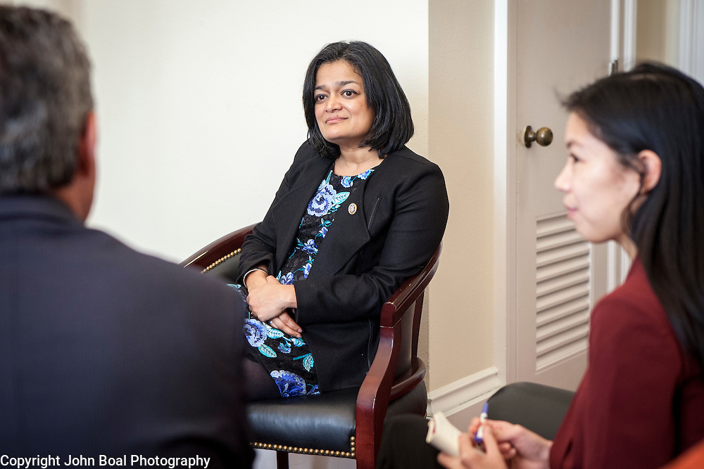Representative Pramila Jayapal (D-WA, 7), and her legislative assistant, Jennifer Chan, meet with representatives of the Washington Bankers Association, on Tuesday, January 31, 2017.  John Boal photo/for The Stranger