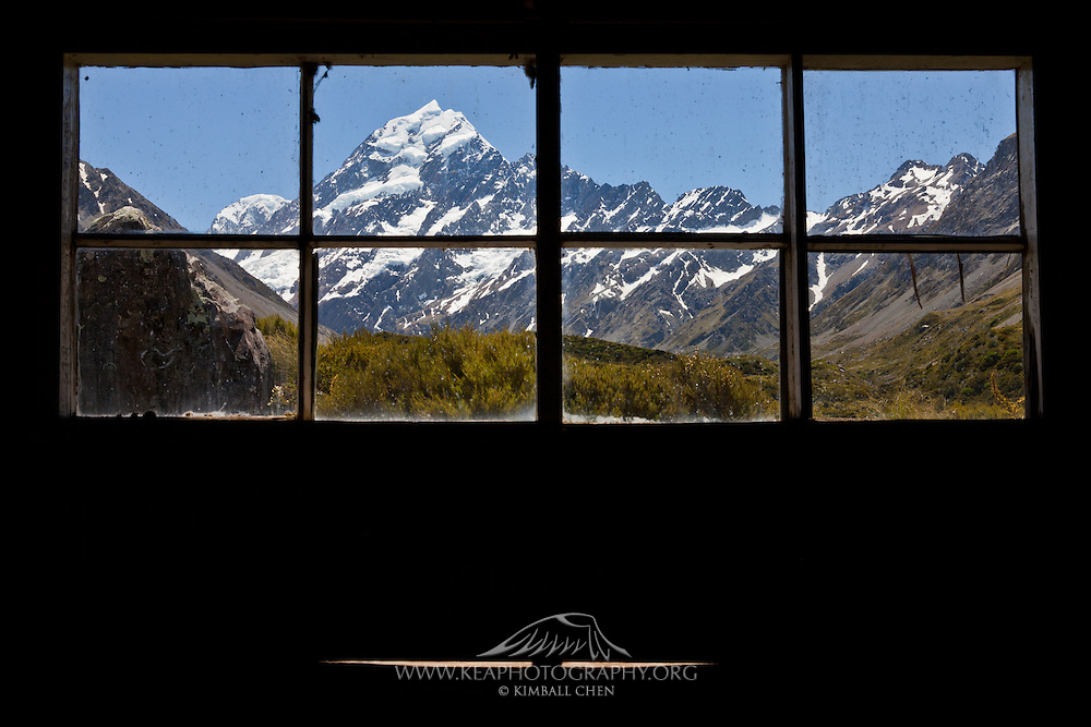 looking out the hut window, Mount Cook, New Zealand