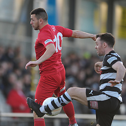 TELFORD COPYRIGHT MIKE SHERIDAN Aaron Williams of Telford battles for a header during the Vanarama Conference North fixture between Darlington and AFC Telford United at Blackwell Meadows on Saturday, November 30, 2019.<br /> <br /> Picture credit: Mike Sheridan/Ultrapress<br /> <br /> MS201920-032