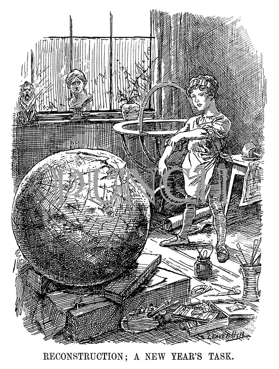 Reconstruction; A New Year's Task. (a boy sculpter tries to rebuild a damaged globe for 1919)