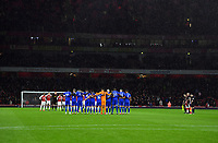 Football - 2018 / 2019 Premier League - Arsenal vs. Cardiff City<br /> <br /> The players line up as a mark of respect for Emiliano Sala - the missing player, at The Emirates.<br /> <br /> COLORSPORT/ASHLEY WESTERN