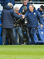 Football - 2018 / 2019 Premier League - Cardiff City vs. Crystal Palace<br /> <br /> Cardiff City manager Neil Warnock shakes hands with Crystal Palace manager Roy Hodgson at the end of the game , at Cardiff City Stadium.<br /> <br /> COLORSPORT/WINSTON BYNORTH