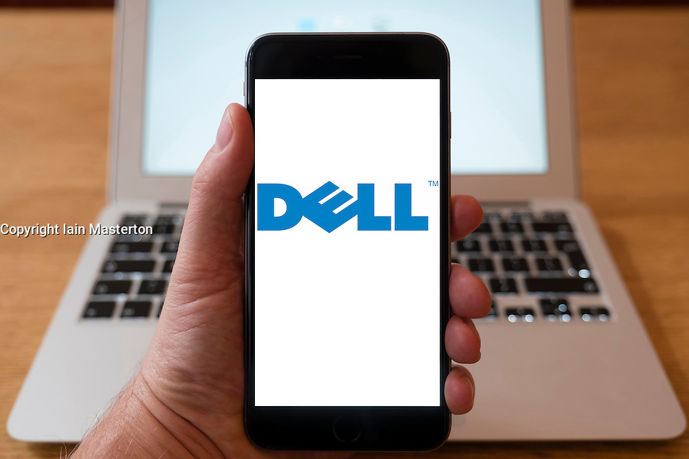 Using iPhone smartphone to display logo of Dell computers
