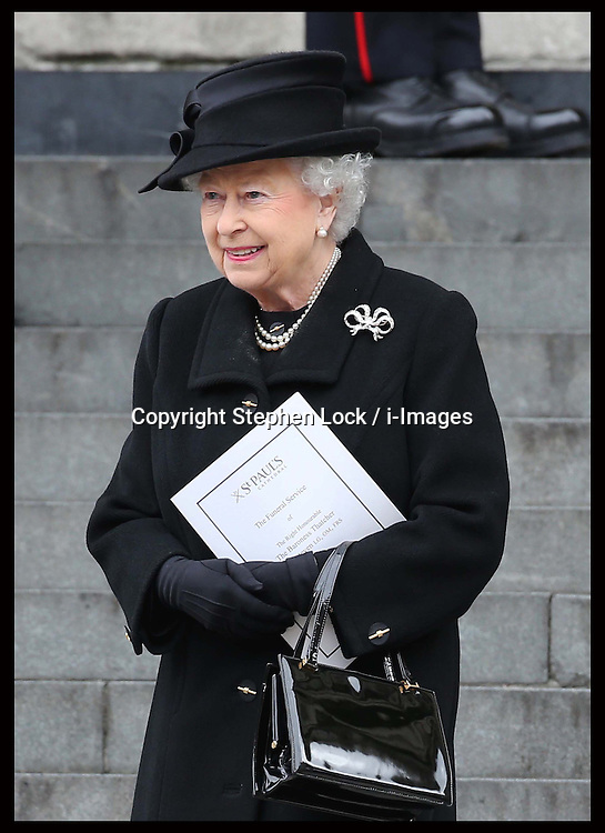 The Queen leaving  Baroness Thatcher's funeral at    St.Paul's Cathedral in London , Wednesday 17th  April 2013 Photo by: Stephen Lock / i-Images