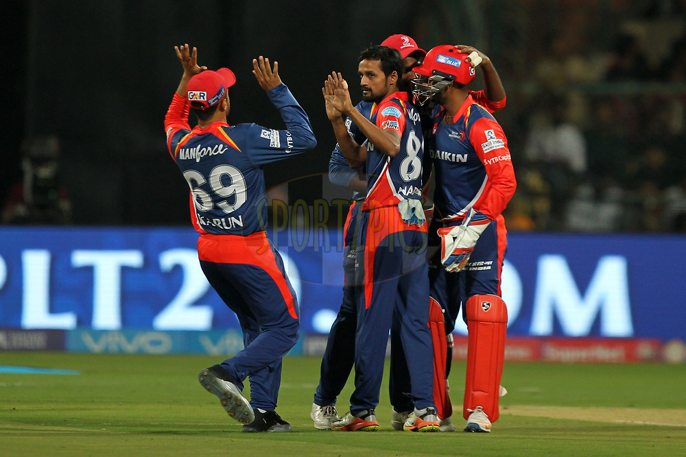 Shahbaz Nadeem of Delhi Daredevils celebrates wicket of Shane Watson captain of Royal Challengers Banglore during match 5 of the Vivo 2017 Indian Premier League between the Royal Challengers Bangalore and the Delhi Daredevils held at the M.Chinnaswamy Stadium in Bangalore, India on the 8th April 2017Photo by Prashant Bhoot - IPL - Sportzpics