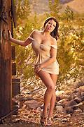 Beautiful brunette woman on construction site in desert