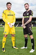 Forest Green Rovers goalkeeper James Montgomery and Forest Green Rovers Carl Winchester(7) wearing the new kit for the 2018/19 season during the 2018/19 official team photocall for Forest Green Rovers at the New Lawn, Forest Green, United Kingdom on 30 July 2018. Picture by Shane Healey.