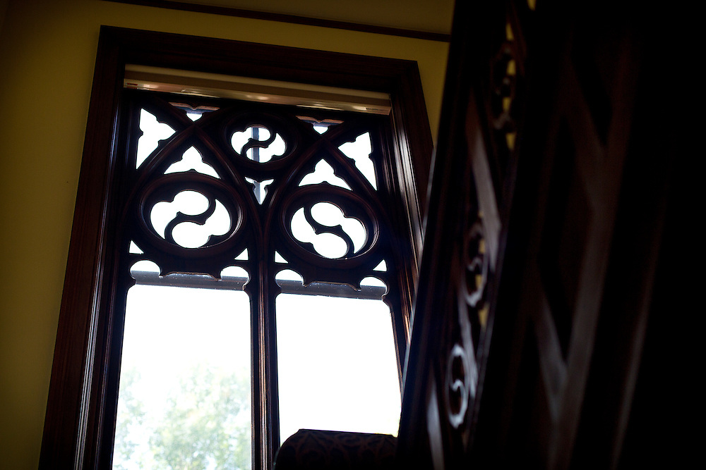 MADISON, WI — SEPTEMBER 2: Classical wood engraving adorns window frames and staircase railings in the entryway of 115 Ely Place.