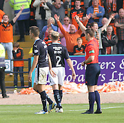 Referee Steven McLean sends off Dundee's Thomas Konrad - Dundee v Dundee United, SPFL Premiership at Dens Park<br /> <br />  - &copy; David Young - www.davidyoungphoto.co.uk - email: davidyoungphoto@gmail.com
