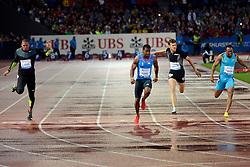 30.08.2012, Stadion Letzigrund, Zuerich, SUI, Leichtathletik, Weltklasse Zurich 2012, im Bild, Sieger Yohan Blake (M, JAM), 100m Maenner. Christophe Lemaitre (FRA) und Michael Frater (R, JAM) // during Athletics World Class Zurich 2012 at Letzigrund Stadium, Zurich, Switzerland on 2012/08/30. EXPA Pictures © 2012, PhotoCredit: EXPA/ Freshfocus/ Andy Mueller..***** ATTENTION - for AUT, SLO, CRO, SRB, BIH only *****