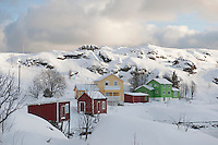 Hill village of Sund on  Flakstadoya Loftofen Norway
