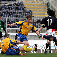 Falkirk v St Johnstone..02.04.05<br />Russell Latapy cuts through the St Johnstone defence for Falkirk's second goal<br /><br />Picture by Graeme Hart.<br />Copyright Perthshire Picture Agency<br />Tel: 01738 623350  Mobile: 07990 594431
