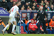 Crystal Palace Manager Alan Pardew appeals to the referee Andre Marriner  during the Barclays Premier League match between Crystal Palace and Liverpool at Selhurst Park, London, England on 6 March 2016. Photo by Simon Davies.