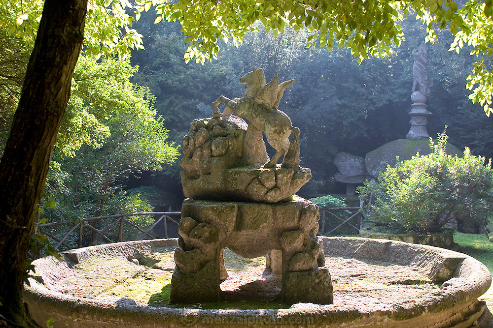 Park of the Monsters (1552). Devised by the architect Pirro Ligorio on commission of Prince Pier Franceso Orsini, called Vicino, to vent the Prince's broken heart at the death of his wife Giulia Farnese. Bomarzo, Italy..