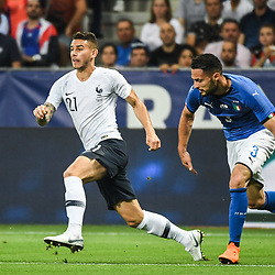 Lucas Hernandez of France and Danilo D'ambrosio of Italy during the International Friendly match between France and Italy at Allianz Riviera Stadium on June 1, 2018 in Nice, France. (Photo by Anthony Dibon/Icon Sport)