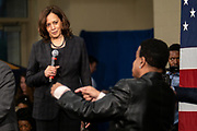 Senator Kamala Harris answers a question from the audience during a town hall event on the campaign for the Democratic nomination for president February 15, 2019 in North Charleston, South Carolina. South Carolina is the first southern democratic primary for the presidential race.