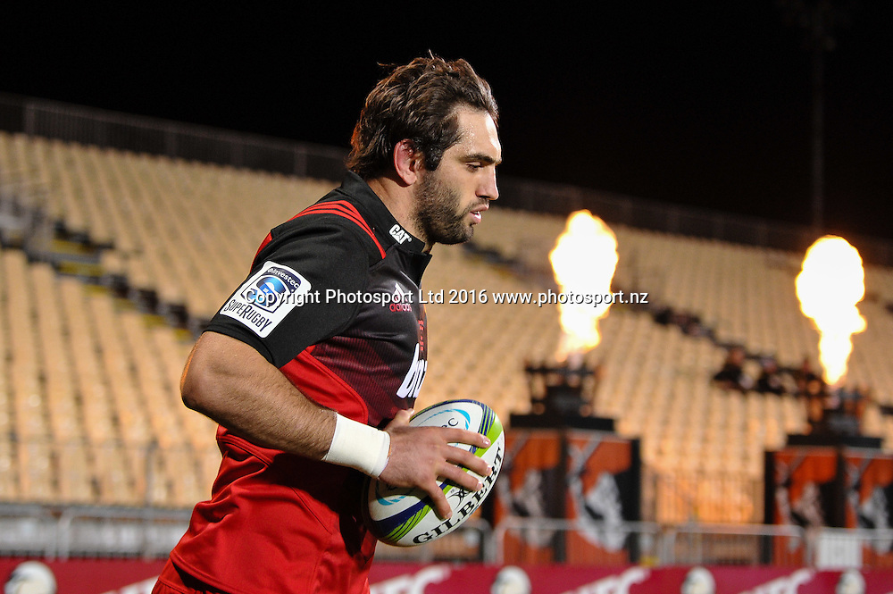 Sam Whitelock of the Crusaders leads the team out in his 100 game during the Super Rugby Match, Crusaders V Rebels, AMI Stadium, Christchurch, New Zealand. 9th July 2016. Copyright Photo: John Davidson / www.photosport.nz