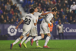 February 24, 2019 - Valencia, Valencia, Spain - Gareth Bale of Real Madrid celebrates a goal during the La Liga match between Levante and Real Madrid at Estadio Ciutat de Valencia on February 24, 2019 in Valencia, Spain. (Credit Image: © AFP7 via ZUMA Wire)
