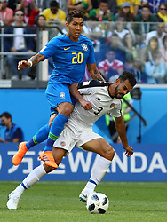 June 22, 2018 - Russia - June 22, 2018, Russia, St. Petersburg, FIFA World Cup, Group E, Second Round, Brazil vs Costa Rica to St. Petersburg arena. Player of the national team Roberto Firmino (20), Giancarlo Gonzalez  (Credit Image: © Russian Look via ZUMA Wire)