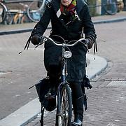 NLD/Amsterdam/20121208 - Hanneke Groenteman op de fiets