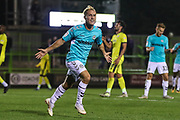 Forest Green Rovers Isaac Pearce(17) scores a goal 4-0 and celebrates during the EFL Trophy match between Forest Green Rovers and Cheltenham Town at the New Lawn, Forest Green, United Kingdom on 4 September 2018.