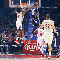 09 November 2015: Los Angeles Clippers center DeAndre Jordan (6) blocks `Memphis Grizzlies guard Tony Allen (9) layup during the Los Angeles Clippers 94-92 victory over the Memphis Grizzlies, at the Staples Center, in Los Angeles, California, USA.
