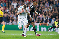 Real Madrid Karim Benzema and PSG Presnel Kimpembe during Eight Finals Champions League match between Real Madrid and PSG at Santiago Bernabeu Stadium in Madrid , Spain. February 14, 2018. (ALTERPHOTOS/Borja B.Hojas)