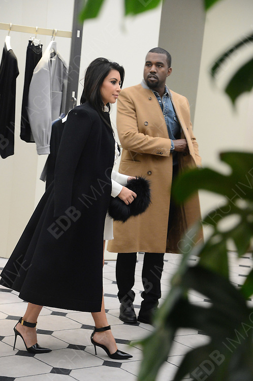 11.JANUARY.2013. PARIS<br /> <br /> KIM AND KANYE SPOTTED LEAVING THE BALENCIAGA HEADQUARTERS AND SHOPPING AT BALENCIAGA BOUTIQUE ON AVENUE GEORGE V, PARIS<br /> <br /> BYLINE: EDBIMAGEARCHIVE.CO.UK<br /> <br /> *THIS IMAGE IS STRICTLY FOR UK NEWSPAPERS AND MAGAZINES ONLY*<br /> *FOR WORLD WIDE SALES AND WEB USE PLEASE CONTACT EDBIMAGEARCHIVE - 0208 954 5968*