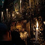 Jérusalem, israël, le 17 avril 2011 - Les responsables de la communauté Copte (chrétiens d'Égypte) lors de la procession pour le jour des rameaux qui comémore l'entrée du Christ à Jérusalem - église du Saint Sépulcre.
