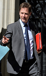 Image ©Licensed to i-Images Picture Agency. 10/06/2014. <br />  <br /> Nick Clegg leaves a cabinet Meeting at 10 Downing Street, London, UK. Wednesday 10th of June 2014<br /> <br /> Picture by Ben Stevens / i-Images