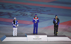 PYEONGCHANG, Feb. 25, 2018  Gold medalist Norway's Marit Bjoergen (C), silver medalist Finland's Krista Parmakoski (L) and bronze medalist Sweden's Stina Nilsson pose for photos during medal ceremony for ladies' 30km mass start classic of cross-country skiing at the closing ceremony for the 2018 PyeongChang Winter Olympic Games at PyeongChang Olympic Stadium, PyeongChang, South Korea, Feb. 25, 2018. (Credit Image: © Wang Song/Xinhua via ZUMA Wire)