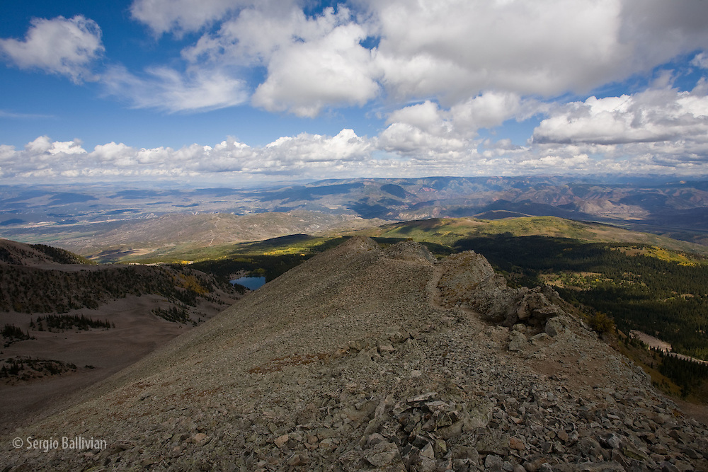 The trail from the summit of Mt. Sopris near Carbondale, Colorado.