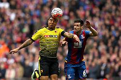 Troy Deeney of Watford beats Scott Dann of Crystal Palace to a header - Mandatory by-line: Robbie Stephenson/JMP - 24/04/2016 - FOOTBALL - Wembley Stadium - London, England - Crystal Palace v Watford - The Emirates FA Cup Semi-Final